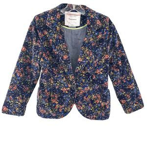 Anthro Blue Floral Cropped Corduroy Blazer Size 8
